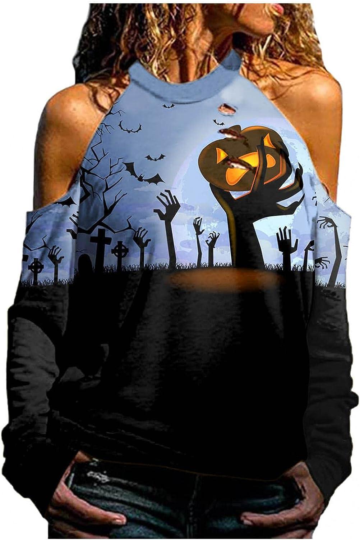 Pullover Sweatshirts for Women Aesthetic Halloween Skeleton Plus Size Halter Neck Long Sleeve Off Shoulder Shirts Top