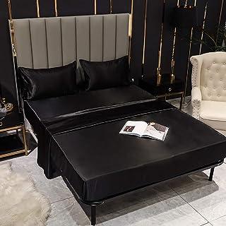 JUWENIN Silky Soft Solid Matte-Satin Hotel Luxury Silky Bed Sheet Sets Shiny-Free,Deep Pocket t Fitted Sheet, Flat Sheet, ...
