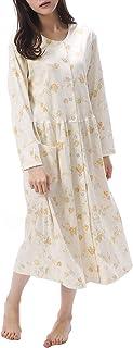NISHIKI[ニシキ] ネグリジェ パジャマ 日本製 綿100% 肌に優しい 厳正生地 国内縫製 長袖 前開き ロング丈 レディース 春 秋 ルームワンピース ルームウェア ナイトウェア 部屋着 スムース