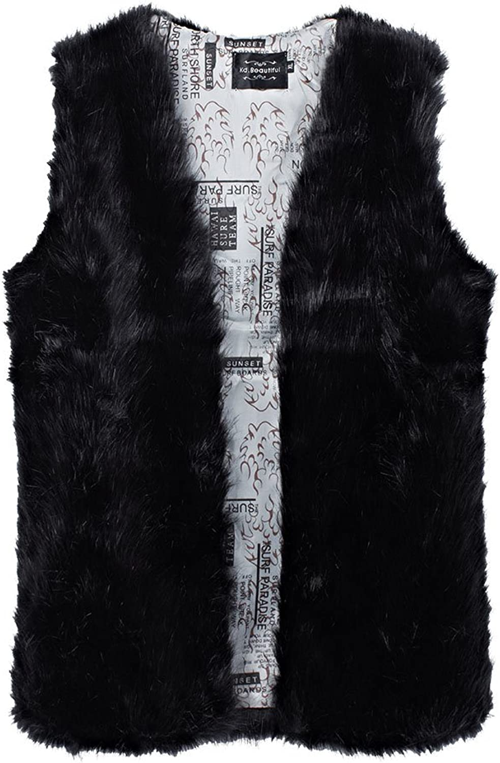 Casual Women Solid V Neck Sleeveless Lining Print Faux Fur Coat