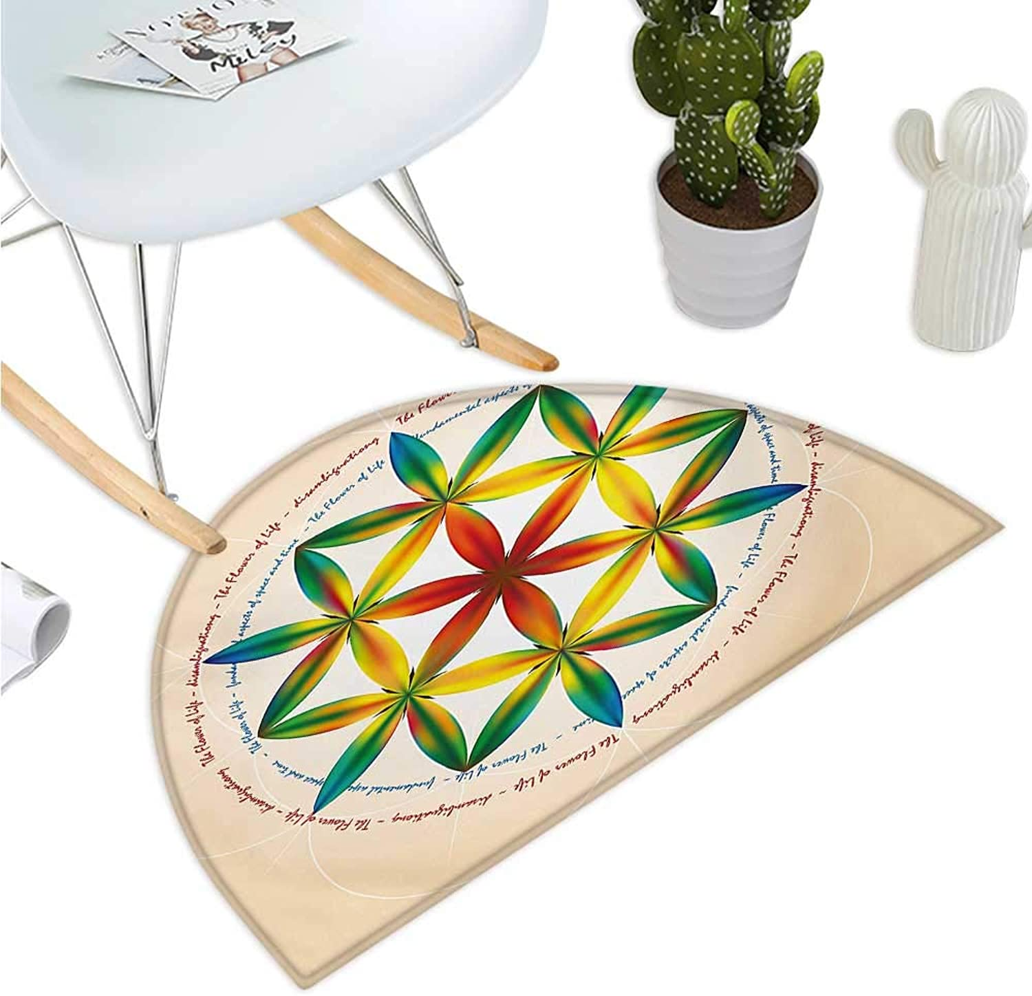 Sacred Geometry Semicircle Doormat Symbol of Fundamental Aspect of Space and Time Esoteric Spiral Print Halfmoon doormats H 47.2  xD 70.8  Multicolor