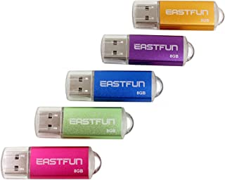 EASTFUN 5Pcs 8GB USB Flash Drive USB 2.0 Flash Memory Stick Thumb Stick Pen (Five Mixed Colors: Gold Rose Blue Purple Green)