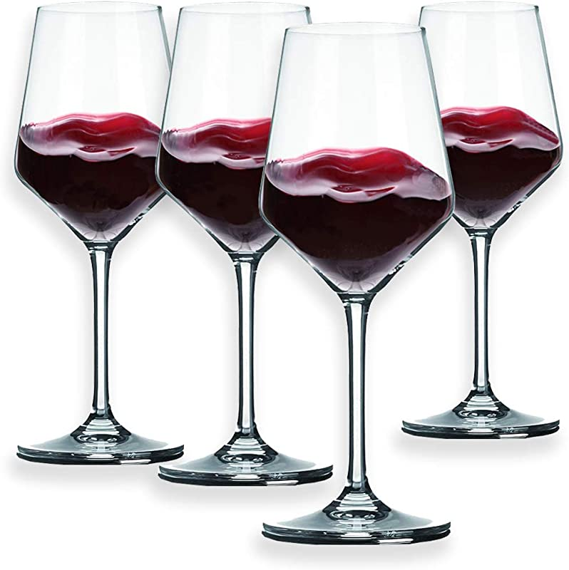 Berglander Red Wine Glasses 13 Ounce Lead Free Made Of Premium Crystal Glass Perfect For Parties Wedding Events 390mL Set Of 4