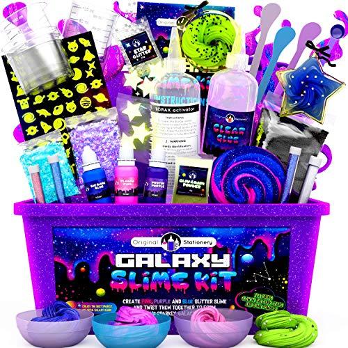 Original Stationery Galaxy Slime para Niñas, Niños - Kit Galaxy Slime Estrellas Que Brillan en la Oscuridad y Polvo de Slime para Hacer Slime Brillante y Galáctico!
