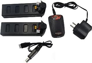 Blomiky 2 Pack 7.4V 1800mAh 25C Li-po Battery and Charger for F18 D80 MJX Bugs2 B2SE B2C B2W GPS RC Quadcopter Drone B2W Battery Black 2