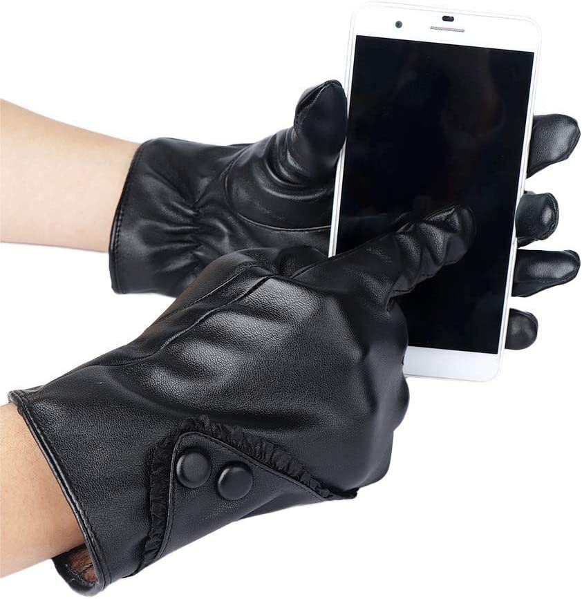 FASGION Ladies Soft PU Leather Cycling Gloves Warm Autumn Winter Gloves Female Windproof Touch Screen Mittens (Color : A)