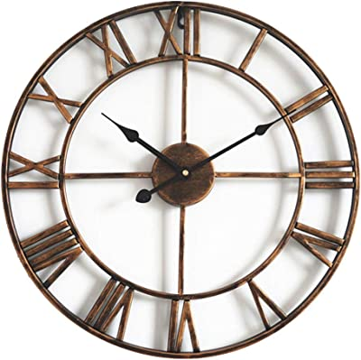 HOIBAI Vintage Wall Clock Silent Battery Operated Outdoor Indoor Living Room Decor 40cm Round Modern Large Wall Clock Non Ticking for Bathroom/Kitchen/Office/Hotel/School