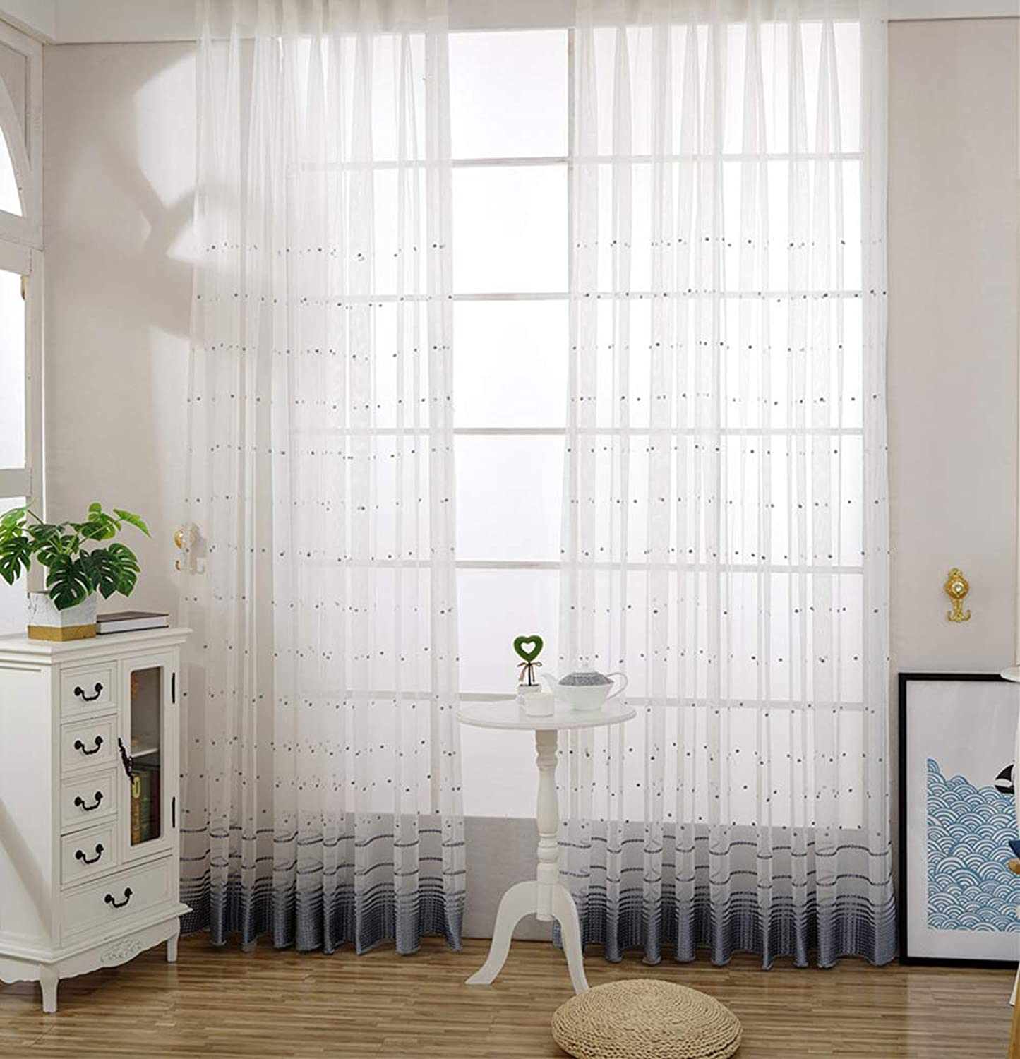 ABCWOO Modern Sheer Tulle Window Curtains Rod Pocket Polka Dots Embroidered Design Home Decorative Gauze Treatments Drapes for Living Room(1 Panel, W 50 x L 102 inch, White)