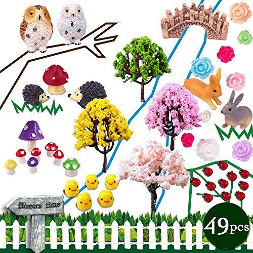 Coardor Fairy Garden Miniature Ornaments 49 in 1 kit Mushroom Hedgehog Owl Tree Bridge Rabbit Signpost Ladybug Chick Rose Fence DIY Doll house Outdoor Decor Plant Pot Home Decoration