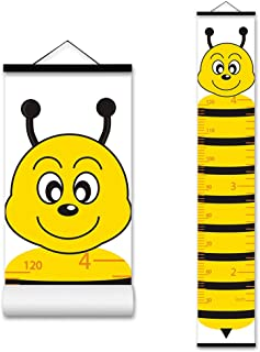 ASENART Kids Growth Chart, Cartoon Animal Honeybee Wood Frame Fabric Canvas Waterproof Hanging Height Measurement Ruler fr...