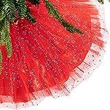 Falda de Árbol de Navidad Falda Brillante de Árbol Alfombrilla de Árbol de Navidad de Doble Capas de Lentejuelas con Volante para Decoración de Fiesta Exterior (Rojo, 36 Pulgadas)