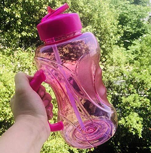 letaowl Botella Agua con Pajitas Bpa-Free 1500ml Gran Capacidad Espacio Deportes hervidor de Agua portátil Viajar Equipado Botella de Agua con Mango 1.5L Pink