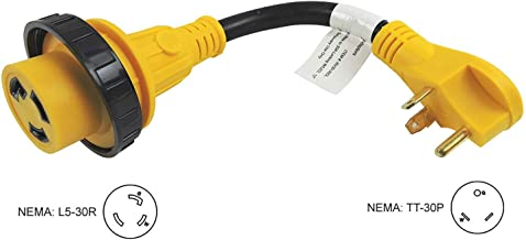 RV Power Adapter Cord Extension, 30 Amp Male to 30 Amp Female Twist Lock Power Cord Adapter RV, Camper, Electrical Adapter NEMA TT-30P to L5-30R for RV Moterhome, Boats & Trailers