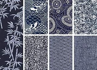 7 Indigo Katagami Asian Japanese Fat Quarter Quilt Fabric Collection