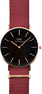 Daniel Wellington DW00100269 Fabric-Band Black-Dial Round Analog Unisex Watch - Maroon
