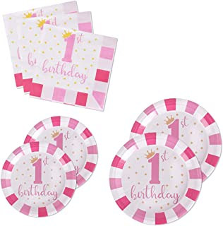 200PCS Party Supplies Paper Plates and Napkins Disposable Plates (for 1st Birthday Pink)