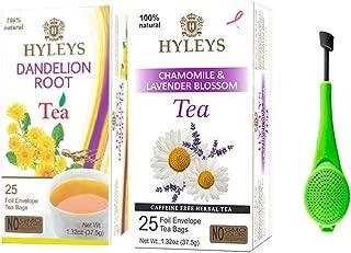 Hyleys Restore Tea Bundle - 2 Pack (Dandelion Root Green Tea and Chamomile & Lavender Blossom Tea) 50 Tea Bags with a Tea Infuser
