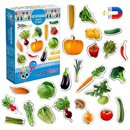 MAGDUM Verduras Imanes Foto Real Infantil para niños - Imanes Nevera Grandes - Juguetes EDUCATIVOS bebé 3 años - Imanes Pizarra magnética para Aprender - Teatro de imán para niños