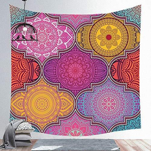 AdoDecor Tapiz de Mandala para Colgar en la Pared, Alfombra para Yoga, Alfombra para Playa de Arena, Manta, colchón, colchoneta para Dormir, 150x100 CM
