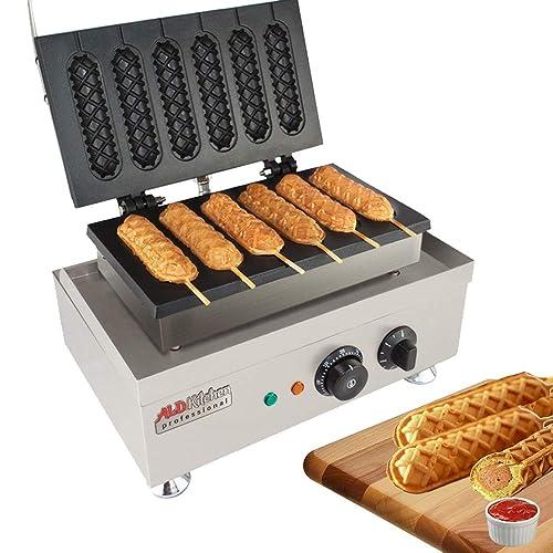 Hot Dog Waffle Maker Commercial 6 PCS Lolly French Hotdog molds 110v   Stainless Steel Crispy