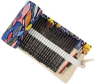 ONEGenug colorato Sacchetto della matita, 48 fori, Borsa per penne, Astuccio, Roll Up Pencil Pouch, Forniture per artisti,...