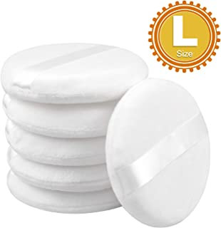 6 Pcs 3.95'' Large Loose powder Puff, Body Puff Ultra Soft Round With Ribbon Band Handle