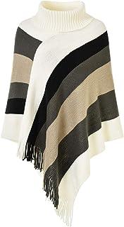 Ferand Rayas de cuello alto suéter de gran tamaño Poncho con flecos dobladillos para las mujeres One Size Estilo del cuell...