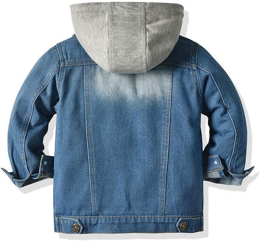 ARAUS Jungen Basic Jeansjacke Kinder Jeans Mantel Kapuze Langarm Denim Jacke Fr/üHling Herbst Casual Outwear 0-7 Jahre
