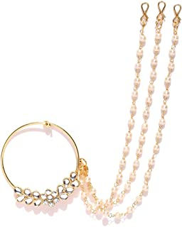 PRITA Traditional Gold Plated American Diamond Nose Ring/Nath with 3 Pearl Chain for Women & Girls