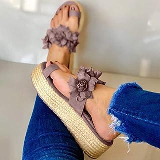 Piscina de Gimnasio Zapatillas,Zapatillas de Plataforma, Sandalias de Muffin de Paja-Violeta_35,Sandalias y Chanclas para Unisex