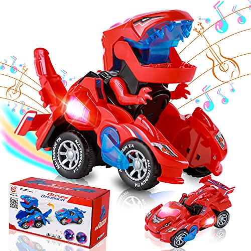 Transforming Dinosaur Car Toys, Transforming Dinosaur LED Car with Light and Music, 2 in 1 Automatic Dinosaur Transform Car Toy, Dinosaur Transformer Toy for Kids (Red)