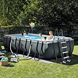 QAQQQ Oversized Piscina Fuori Terra Piscina Famiglia Festa All'aperto per Bambini Piscina Rettangolo Staffa Pool Grey-549 * 274 * 132CM