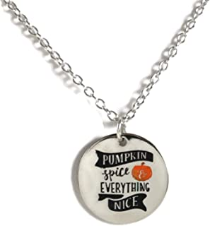 Pumpkin Spice and Everything Nice Fall Silver Tone Round Pendant Necklace, 18 Inches