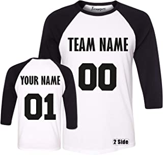 TEEAMORE Men Women Custom Raglan, Add Your Text Design Your Own Team Name Number