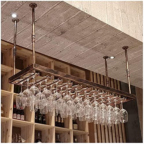 SMTAO Estante para Vino de Techo Soporte para Copa de Vino para Colgar en el Techo Estante para Vino Tinto Al Revés Estante de Hierro para Decoración de Techo para Bares, Restaurantes, Cocinas, Gabin
