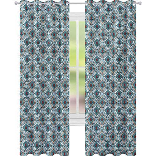 YUAZHOQI - Cortina de ventana tribal, estilo dibujado a mano, tinta con formas artísticas primitivas de cultura, orígenes peruanos, 132 x 274 cm, cortinas opacas para dormitorio multicolor