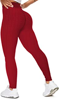 SZKANI Womens Ruched Butt Lifting High Waisted Yoga Pants Tummy Control Workout Leggings Textured Tights