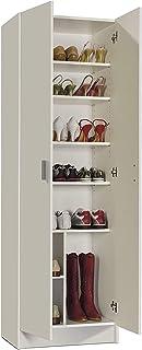 Mediawave Store - 258560 Armoire multifonction à colonne avec 2 portes et 8 étagères blanc Meuble d'entrée, ameublement ma...