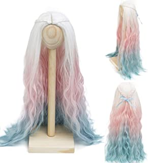 MUZI Wig Heat Resistant Doll Hair Wig, Fiber Long Deep Wave Curly Ombre White Pink Blue Doll Hair BJD Doll Wig for 1/3 BJD SD Doll Wig (1001RT2334RT4811)