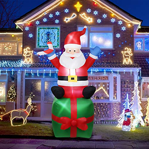 Evoio 6FT Christmas Decorations- Inflatable Santa Claus with Gifts Giant Yard Garden Lights Decor/Best for Outdoor and Indoor Holiday Decorations(Santa Sitting on The Gift Bag) (Green2)