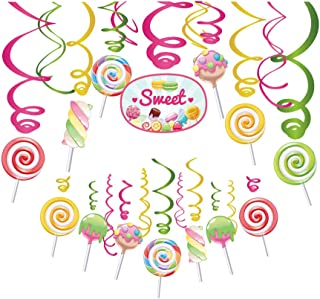 30Ct Candy Party Hanging Swirl Decorations,Lollipop Party for Girls,Boys,Kids,Home,Classroom,Baby Shower,Bridal Shower,Holiday,Graduation,Fiesta,Back to School,Thanksgiving,Chrismas,Happy New Year