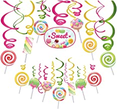 30Ct CandyLand Hanging Swirl Decorations,Lollipop Decorations,Sweet Decorations for Girls,Boys,Kids,Home,Classroom,Office,Baby Shower