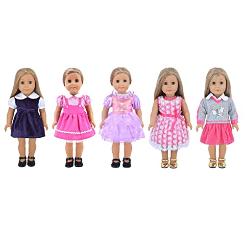 Ebuddy Fashion 5-sets Different Style Doll Party Dress Clothes For 18 inch American  Girl 6964289a5
