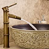 Retro Style Single Handle Hot & Cold <span class='highlight'>Brass</span> Tall Vessel <span class='highlight'>Sink</span> <span class='highlight'>Bathroom</span> Faucet, Bamboo Shaped Basin Mixer Tap