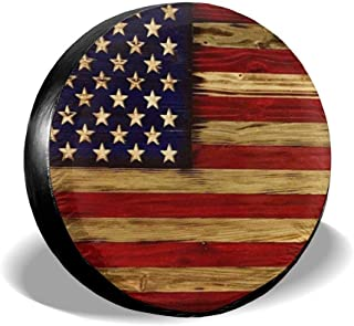 Tire Cover American Flag Reclaimed Wood Potable Polyester Universal Spare Wheel Tire Cover Wheel Covers for Jeep Trailer RV SUV Truck Camper Travel Trailer Accessories 17 Inch