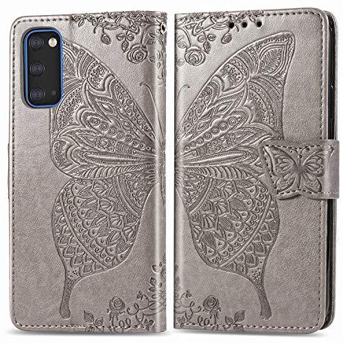 ZTOFERA Étui à rabat pour Samsung Galaxy S20 Plus, motif papillon gaufrage Étui portefeuille avec fermeture magnétique, emplacements pour cartes, béquille, dragonne, étui fin pour Samsung Galaxy S20 Plus Violet