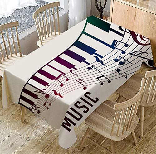 ggzgyz Jardín Mantel con patrón de música de Piano Cubierta de Mesa de té Rectangular Decoraciones de Mesa de Comedor Adornos de manteles de Fiesta