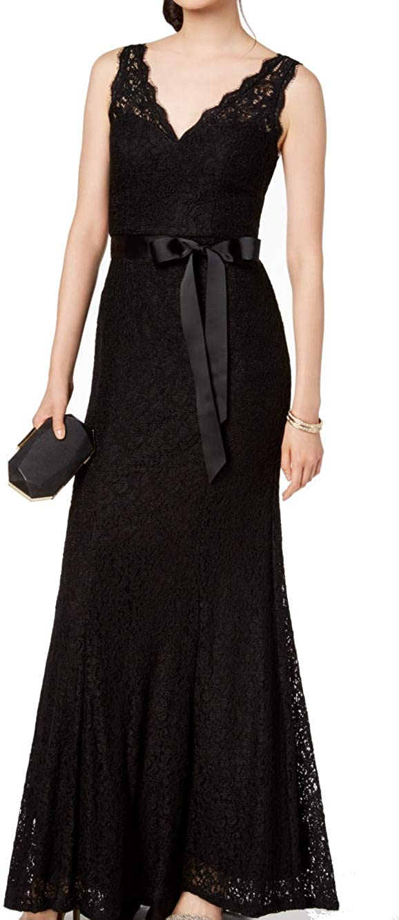 Adrianna Papell Womens Black Lace Belted Sleeveless V Neck Full-Length Fit + Flare Evening Dress Size 4