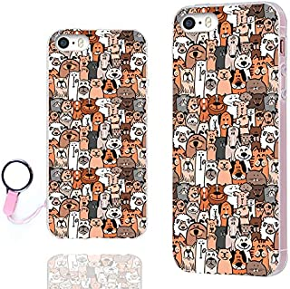 iPhone SE Case,iPhone 5s Case, iPhone 5 Case,ChiChiC [Orignal Series] Full Protective Case Slim Art Soft TPU Gel Rubber Cases Cover iPhone 5 5S SE,Cute Cartoon Animal Doodle Brown Dogs Cats Smile pet