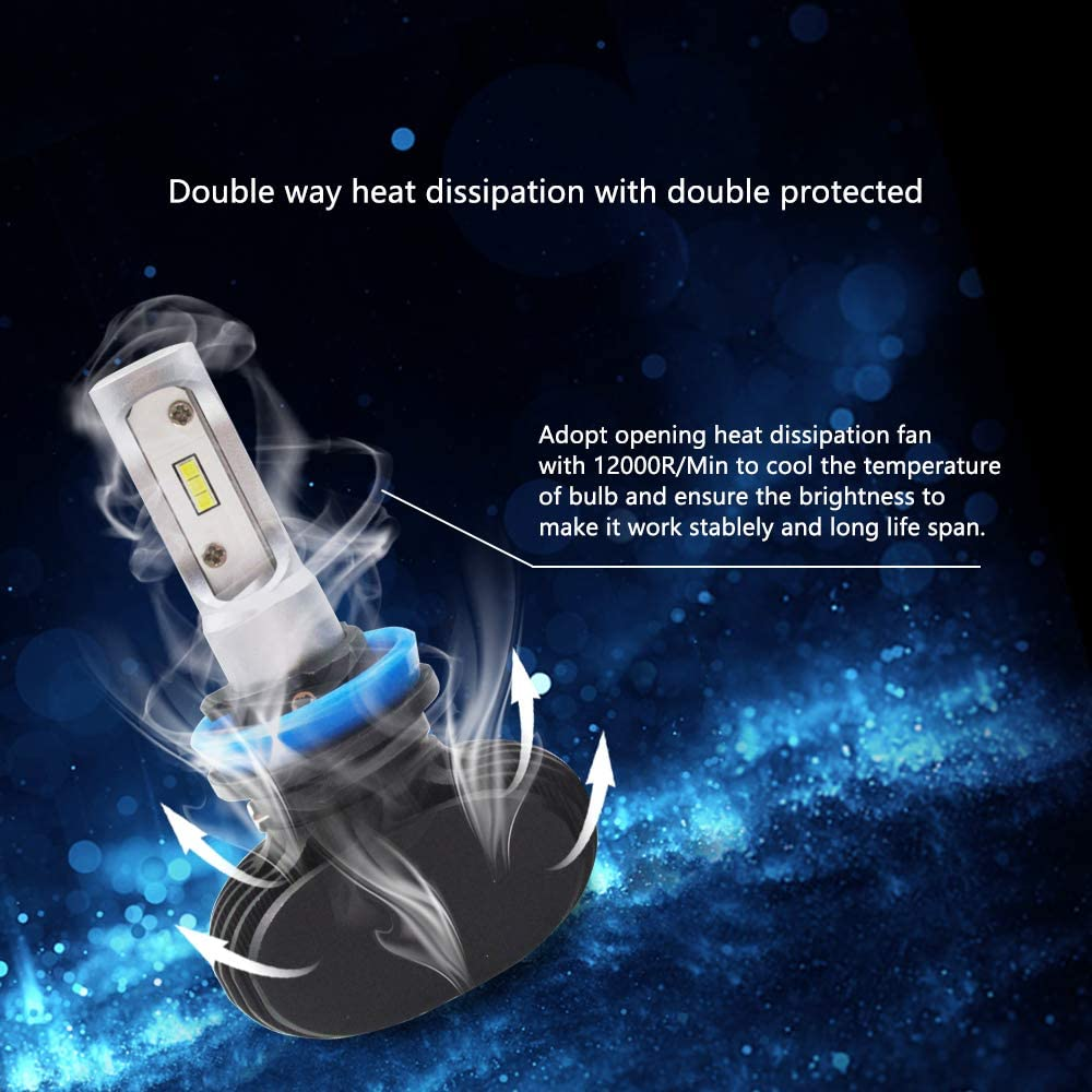 CSP Chips 50W 6500K Xenon White Conversion Kit Fanless Cool Extremely Bright Replacement Low Beam Fog Light IP68 Waterproof Pack of 2 H7 LED Headlight Bulb
